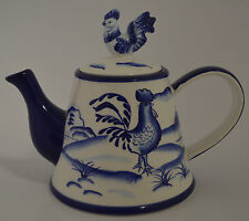 Blue and White Ceramic Porcelain Teapot with Candle Inside - Rooster