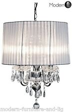 CRYSTAL DROPLET 4 LIGHT CHANDELIER WITH SILVER RIBBED SHADE,SILVER CEILING LIGHT