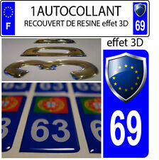 1 sticker plaque immatriculation auto TUNING 3D RESINE  BLASON EUROPE DEPA 69