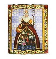 Jim Shore 12 DAYS OF CHRISTMAS Folk Father Xmas Santa Fabric Shower Curtain NIP
