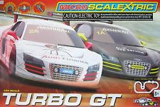 2015 Micro Scalextric G1118T Turbo Gt Audi 1:64 HO Slot Car RACE SET UNUSED New