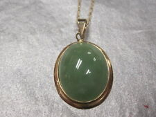 "14k yellow gold large oval Green Jade Pendant 16"" chain"