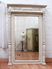 CHARMING HUGE ANTIQUE FRENCH PAINTED WALNUT COLUMN MIRROR - C1900