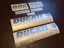 DUCATI 996s PERORMANCE decals stickers graphics logo set kit silver