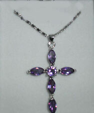 STERLING SILVER PURPLE AMETHYST CROSS PENDANT NECKLACE (New & Boxed)