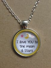 "I Love You to the Moon and Stars Silver Plated 18"" Necklace New in Gift Bag"