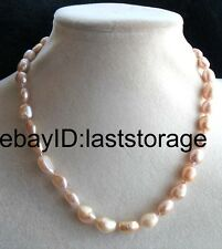 """freshwater pearl 8-10mm purple baroque necklace 16"""" wholesale beads nature"""
