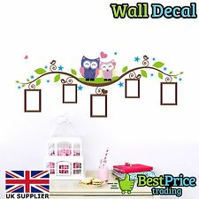 Owls On Branch Photo Frame Vinyl Wall Decal Sticker Home Decor Art *Kids Bedroom