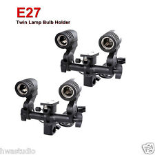2× Twin Lamp Bulb Holder E27 Socket Slave Swive Bracket Light umbrella Mount