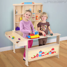 Childrens Market Stall Stand Wooden Shop Toy Shopping Kids Play Pretend Grocery