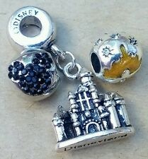 Disneyland Gold Sleeping Beauty Castle Black Crystal Mickey European Bead Charms