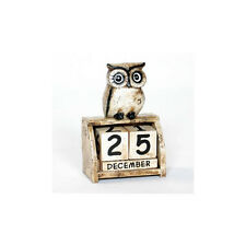 FAIR TRADE Hand Carved Wooden Sitting Owl Perpetual Calendar Shabby Chic NEW