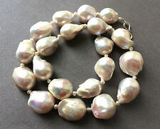 Sale! FLAMEBALL Pearl Necklace White Flameball Sterling Silver Clasp