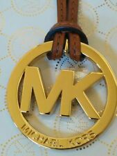 "Michael Kors 1.75"" MK Gold Charm Luggage Brown Genuine Leather Strap Handbag Fob"