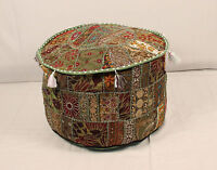 Bohemain Green Round Ottoman~Pouf~Stool~Chair Moroccan Pouffe poof India Decor