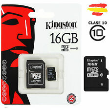 TARJETA MEMORIA 16GB  KINGSTON CLASE 10 MICROSD 16 GB MICRO SD 32 MOVIL KM16C10