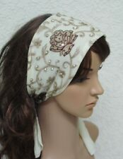 Embroidered Headband, Tie Back Hairband, Self Tie Hair Scarf, Hair Covering