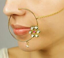 KN-17 BELLY DANCE GOLD PLATED INDIAN BOLLYWOOD BRIDAL NOSE RING NATH JEWELRY
