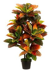 ARTIFICIAL 3' CROTON OUTDOOR UV TOPIARY TREE BUSH PALM PLANT IN POT POOL PATIO