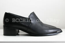 ACNE STUDIOS 'jaycee leather loafers' black heel silver tip pointy point 37