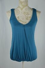 One Clothing Womens Small Blue Racerback Loose Fit Tank Top Back Design V-Neck