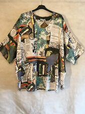 Plus Size Ladies Quirky Lagenlook Vintage Printed 2 Pockets Boho Top Tunic 66""