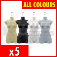 5 x Female Hanging Body Form Display Mannequin Bust Dummy Torso Shop Fitting