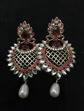 New Bollywood Indian Costume Jewellery Earrings Red & Gold With Pearl KUNDAN