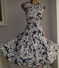 MONSOON NAVY WHITE FLORAL 50's WEDDING PROM SUMMER HOLIDAY SILKY DRESS 16