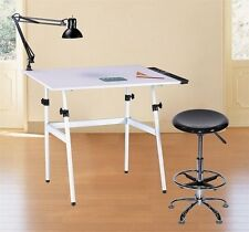 Drawing Table Desk Combo With Stool, Side Tray & Lamp~Hobby~Art~Drafting