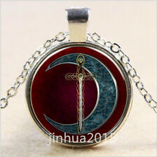 NEW Vintage-Celtic-Moon-and-Sword-Cabochon-Glass-Silver-Chain-Pendant-Necklace /