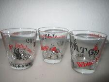 3 WHISKEY GLASS TUMBLER VAT 69, BLACK & WHITE, JOHNNIE WALKER,WHITE LABEL