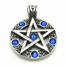 Heavy Polished Steel Blue Crystal Pentagram Pendant for Necklace Pagan Wicca