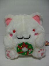 Maruneko Fuzzy Snow White Cat w/ Christmas Wreath 16cm Plush Nemuneko Pokemon