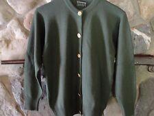 Burberrys cardigan sweater size 36 EUC green merino wool made in Scotland