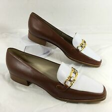 NEW Bally Brown White leather Bit Loafers Sz 8 N RUTA