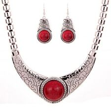 Fashion Jewelry Pattern Tibetan Silver Red Turquoise Necklace Earrings Set