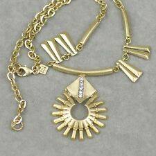 banana republic BR signed jewelry Vintage Gold plate Bib necklace cut crystal