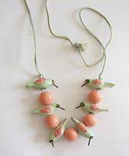 Sweet Pink & Green Hummingbirds Necklace