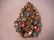 Stunning Vintage Signed Lisner Rhinestone Pin Brooch High End Costume Jewelry