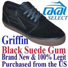 Lakai GRIFFIN LIMITED Men's SIZE 10.5 Skateboard Shoes BLACK GUM Skate BMX