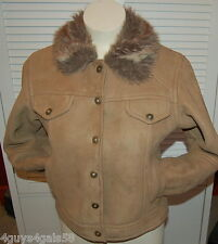 Mock Leather BROWN Coat Jacket Faux Fur Collar KC COLLECTION Large Junior