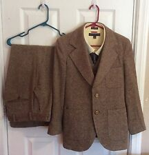 Pierre Cardin VTG 3 Piece Brown Speckled Wool Suit 36S 28x27