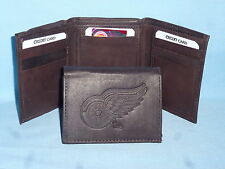 DETROIT RED WINGS    Leather TriFold Wallet    NEW    dkbr 3  m1