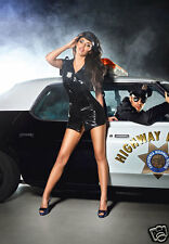 BACI Sexy Police Dirty Cop Black Vinyl Dress& Hat Uniform Lingerie Costume OS