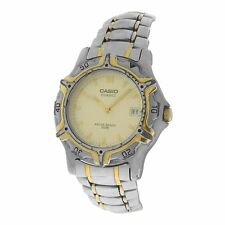 Authentic Men's Casio Two Tone Stainless Steel Quartz 100M Water Resistant Watch