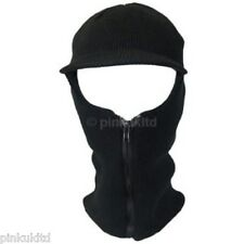 Black Mens Adult Unisex Peak Zip Up Balaclava Winter Hat Warm Ski Motor bike