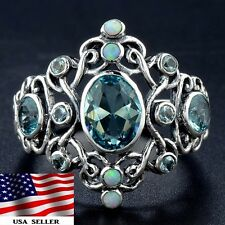 1CT Aquamarine & Fire Opal  925 Solid Sterling Silver Filigree Ring Sz 7