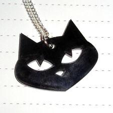 Kitsch Kawaii Halloween Testa di Gatto Nero Acrilico Collana con ciondolo logo