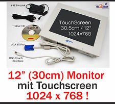 "30.5cm 12"" Monitor con USB Touchscreen per Windows XP Win 7 8 32+62 bit 1024x768"